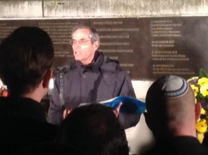 Me speaking on Kristallnacht , November 9, 2014 at the site in Leipzig where the great synagogue stood before it was burned to the ground by the Nazis on November 9, 1938