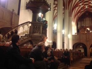 Speaking at the Thomaskirche in Leipzig on Kristallnacht