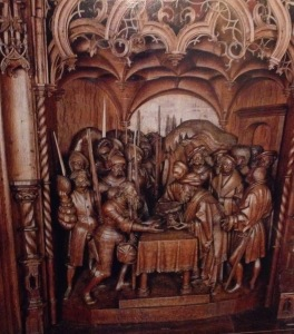 Woodcut from the altar of St Petri-Dom in Schleswig, Germany of Melchizedek bringing blessings to Abram, .