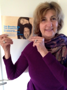 Vickie holding the recently published booklet about her mother's life and journeys from Breslau in 1921 to Sand Francisco in 2015
