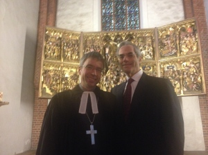 Dr. Daniel Havemann, The Probst of the Lutheran Church in Segeberg, standing with me in the Marien Cathedral after my sermon on November 15, 2015